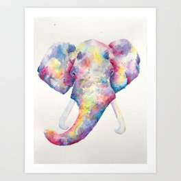 Elephant in Colours Art Print