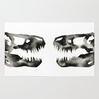 trex Area & Throw Rugs featuring Inkblot Trex Dinosaur by GeometricInk