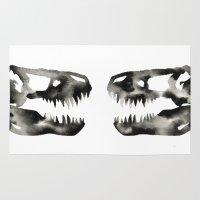 trex Area & Throw Rugs featuring Inkblot Trex Dinosaur by GeometricInk