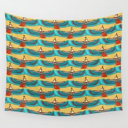 Isis and Nephtys - Turquoise and yellow Wall Tapestry
