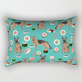 German Shepherd Sushi Dog - cute german shepherd decor, german shepherd blanket, german shepherd dog Rectangular Pillow