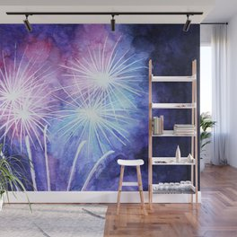 Blue and pink fireworks Wall Mural