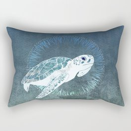 Green Sea Turtle Wreath Rectangular Pillow