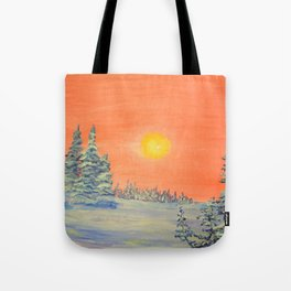 winter trees snow and sun . Tote Bag