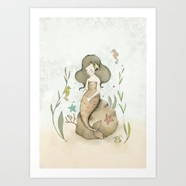 Mermaid, seahorses and a crab. Art Print