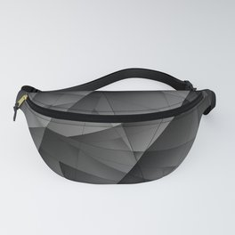 Exclusive tinted mosaic pattern of chaotic black and white fragments of glass, metal and ice floes. Fanny Pack