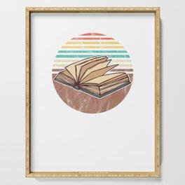 Retro Vintage Book Lover Graphic Bookish Bookworm Serving Tray