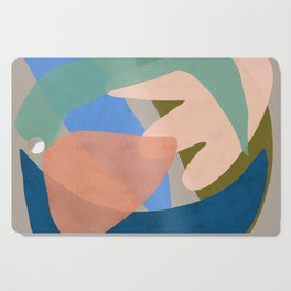Shapes and Layers no.30 - Large Organic Shapes Blue Pink Green Gray Cutting Board