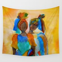 african Wall Tapestries featuring African costumes by Costa