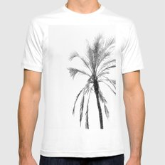 Palm trees and black white monochrome1 MEDIUM White Mens Fitted Tee