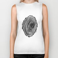 tree rings Biker Tanks featuring Tree Rings - Dark by Emily Swedberg (Ito Inez)
