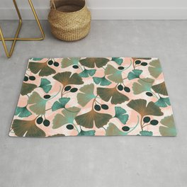 Ginkgo leaves and berries seamless pattern Rug