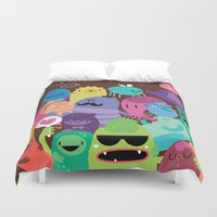 monsters Duvet Covers featuring Monsters by Maria Jose Da Luz