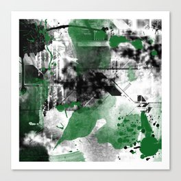 Abstract Black & Green Canvas Print