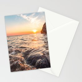 Seascape sunset view on the. Surface of water Stationery Cards