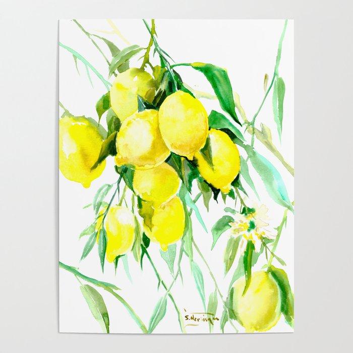 Lemon Tree Kitchen Decor Art Towel Lemon Poster By Sureart Society6