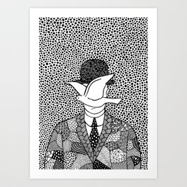 Magritte - Man in a bowler hat Art Print