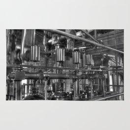 Steam valves in black and white Rug