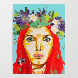 Red haired girl with flowers in her hair Poster