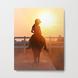 young equestrian sunset Metal Print