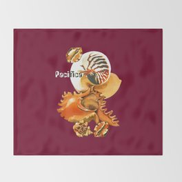 Pacifica 1 - South Pacific Seashells Throw Blanket