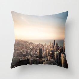 Chicago Skyline over Lake Michigan Throw Pillow