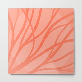 Root and Branch - Living Coral Metal Print