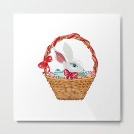 Bunny in basket Metal Print