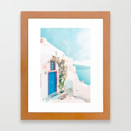 Santorini Greece Cozy blush travel photography in hd. Framed Art Print