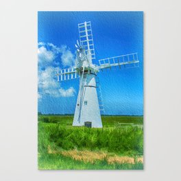 Thurne Dyke Mill Textured Canvas Print