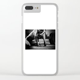My Slave - Man naked on his knees in front of his mistress Clear iPhone Case