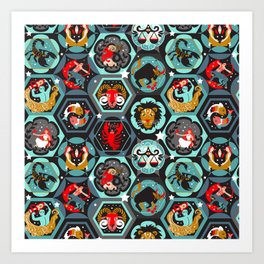 Hexagon zodiacs Art Print