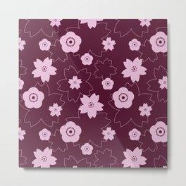 Sakura blossom - burgundy Metal Print