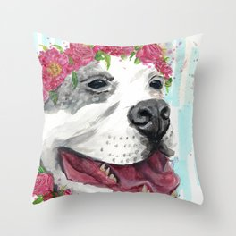 Puppy In Pink Throw Pillow