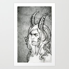 Demon with cleft and frown Art Print