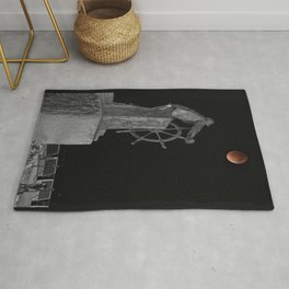 Fisherman's Memorial Lunar Eclipse BW #2 Rug