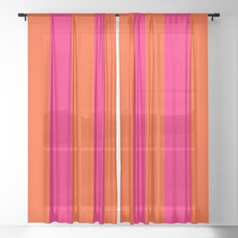 Bright Neon Pink and Orange Vertical Cabana Tent Stripes Sheer Curtain