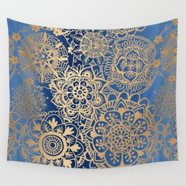 Blue and Gold Mandala Pattern Wall Tapestry