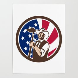 American Organic Farmer USA Flag Icon Poster