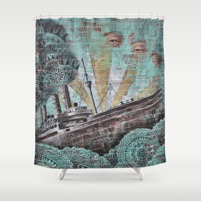 the boat wall Shower Curtain