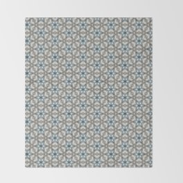 Blue & Cement Gray Geometric Stars Throw Blanket