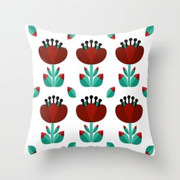 Tulip and Love Leaf Throw Pillow