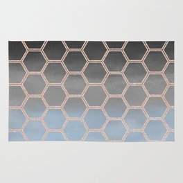 blue ombre with rose gold hexagons Rug