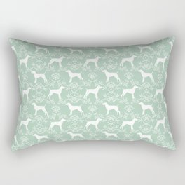 German Shorthair Pointer dog breed floral silhouette mint and white dogs pattern gifts Rectangular Pillow