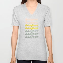 Bonjour in Pretty Pastels Unisex V-Neck