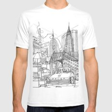 New York! B&W White MEDIUM Mens Fitted Tee