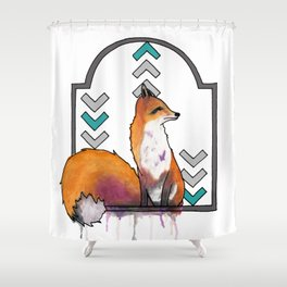 Painted Fox with Chevron Design Shower Curtain