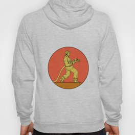 Fireman Firefighter Holding Fire Hose Circle Drawing Hoody