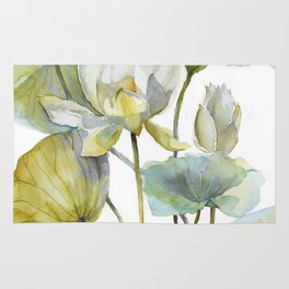 Lotus Plant and Fish Zen Design Watercolor Muted Pallet Botanical Art Rug