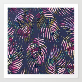 Modern purple pink lavender gold floral palm tree pattern Art Print
